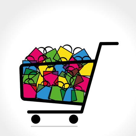 shopping trolley full of shopping bag vector
