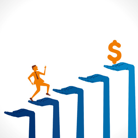 men run on hand business graph background vector Vector