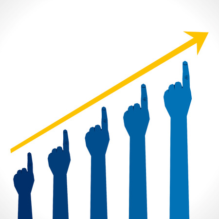 hand business growth graph background vector Vector