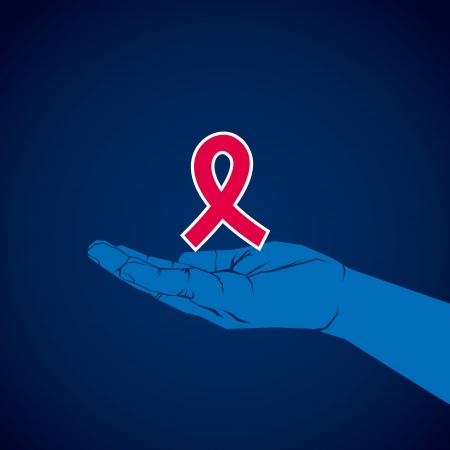 aids symbol in hand vector Stock Vector - 24335788
