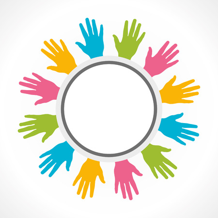 colorful hand around round label vector Vector
