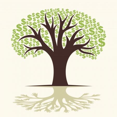 grow money: dollar tree and hand tree shadow vector