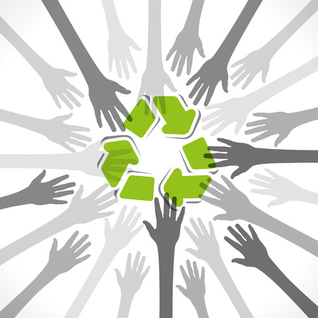 recycle symbol vector: hand background with recycle symbol vector