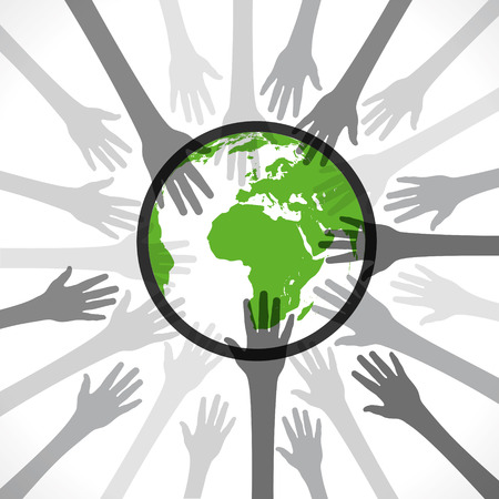 every hand save the earth concept vector Illustration