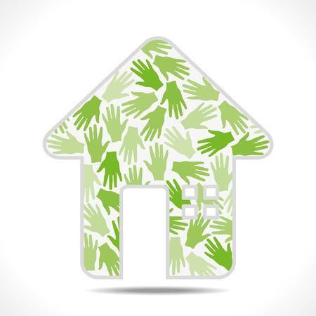 green hand pattern design home symbol vector Stock Vector - 24335852