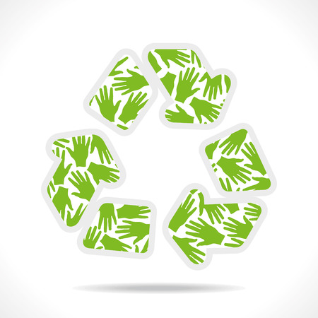 recycle symbol vector: green hand pattern design recycle symbol vector