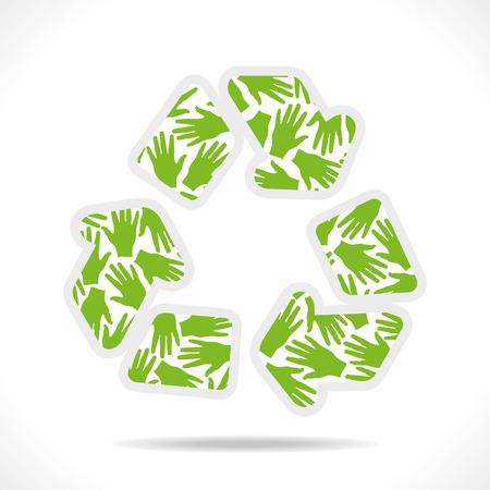 green hand pattern design recycle symbol vector Stock Vector - 24335853