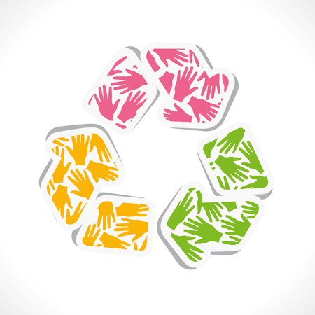 recycle symbol vector: hand pattern recycle symbol vector