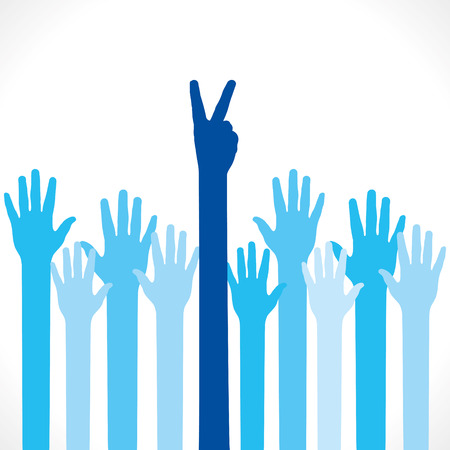hand victory sign and hand up background vector Vector