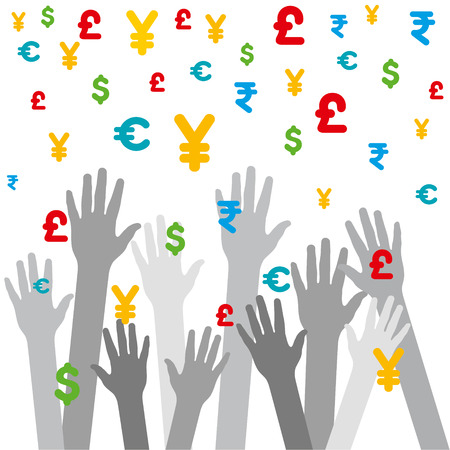 every hand catch the falling different currency background vector Vector