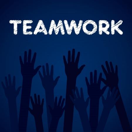 hand up teamwork background vector