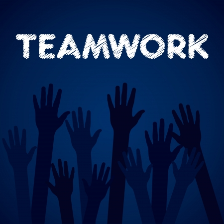 hand up teamwork background vector