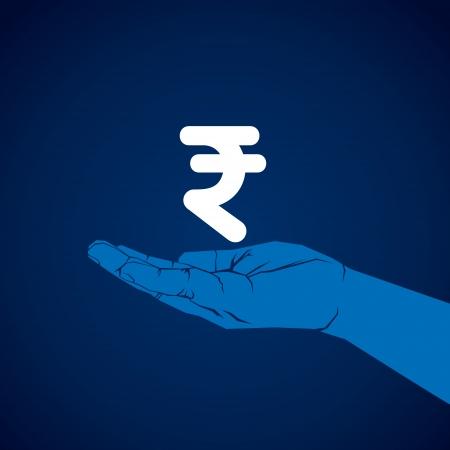rupee symbol in hand vector Illustration
