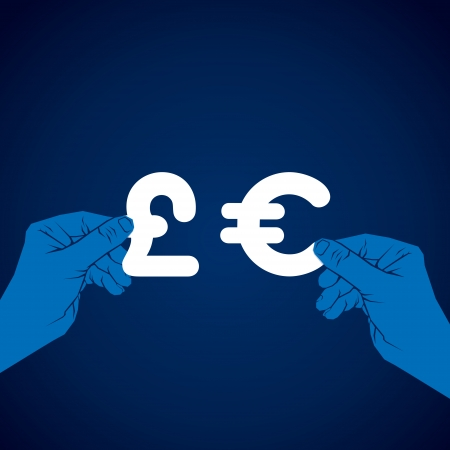 take out: exchange euro and pound currency vector Illustration