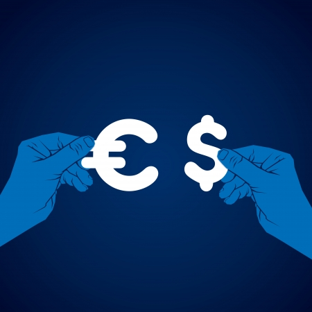 currency exchange: exchange dollar and euro currency vector Illustration