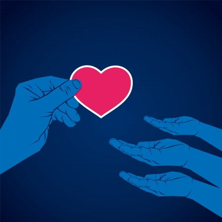 charity: hand giving heart shape to another hand vector Illustration