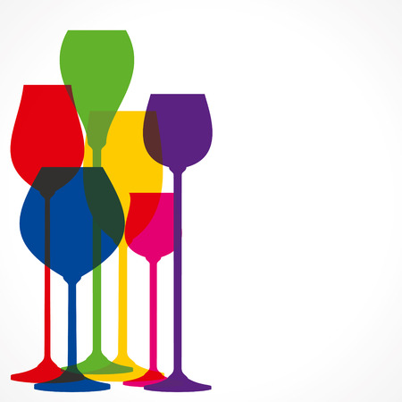 plastic straw: colorful wine glass background vector