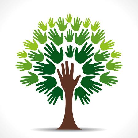 Vecteur d'arbre à la main verte Banque d'images - 24474418