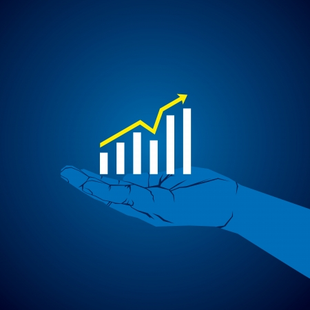 bar chart: business growth graph in hand vector