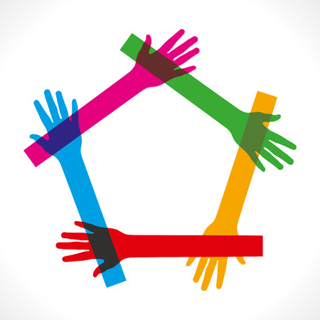 hand palm: colorful hand join and make pentagon shape vector
