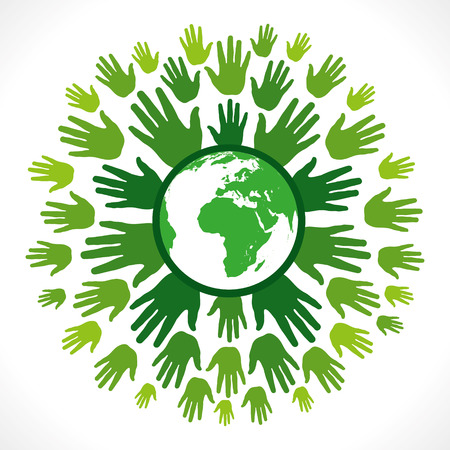 hand holding world: save earth concept vector Illustration