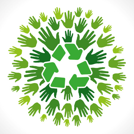 recycle icon on hand background vector Stock Vector - 24474469