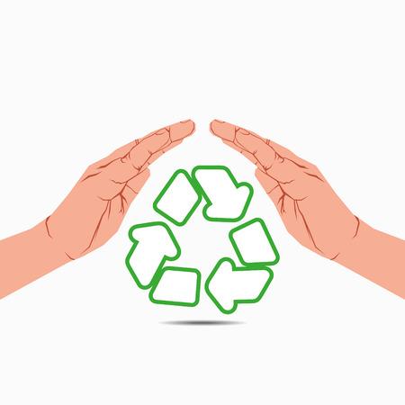 recycle symbol under hand vector Stock Vector - 24474475