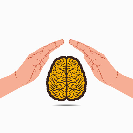 knowledge concept: secure brain under hand or save knowledge concept vector
