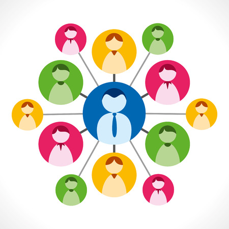 feedback link: people network or people relation with leader, business network concept