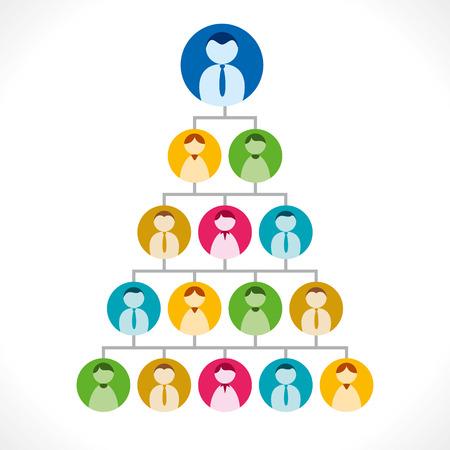 multilevel: multi-level marketing or people tree or leadership concept Illustration