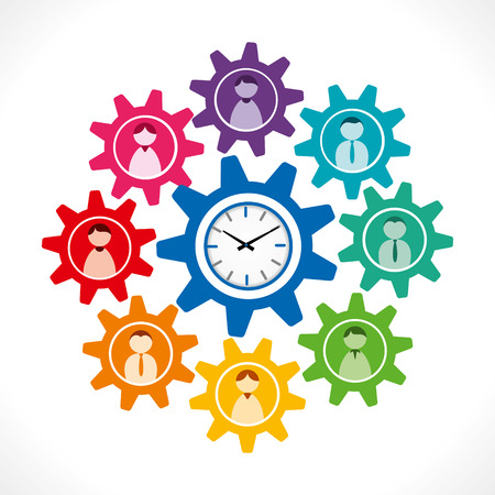 people icon in gear with clock concept, people work on time concept