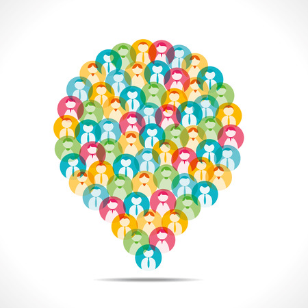 people icon: colorful people icon message bubble vector