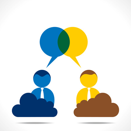 discussion: people discussion with message bubble vector Illustration