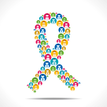 cancer prevention: colorful people icon design AIDS symbol vector