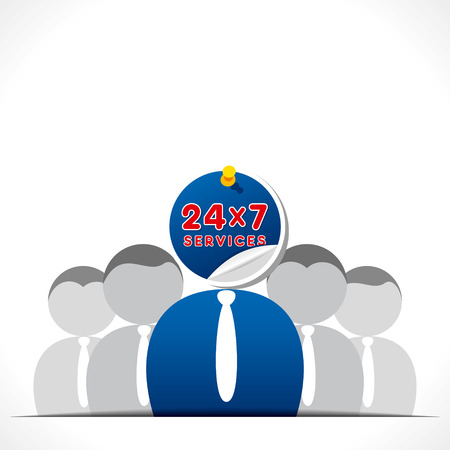 24x7: 24 hour service support people background vector