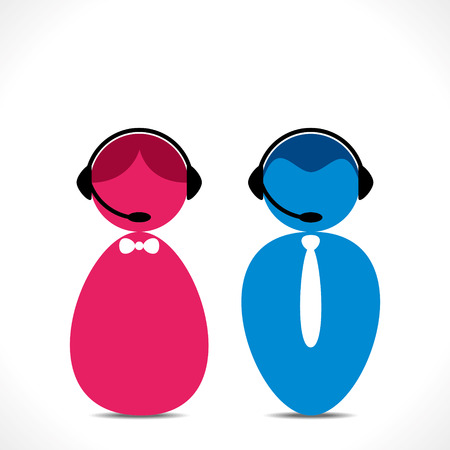 male and female: male female call center people icon vector Illustration