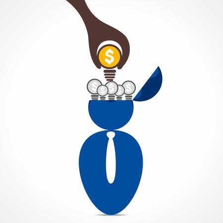 new idea in men head or put bulb in head background vector Stock Vector - 24893159