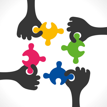 teamwork concept or join puzzle piece background vector Vector