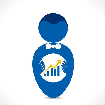 predict: business growth graph in hand vector