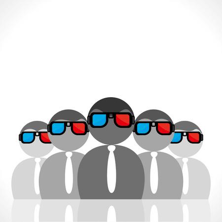 3 d glasses: people wear 3-d movie glasses vector Illustration