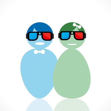 couple wear 3-d movie glasses vector