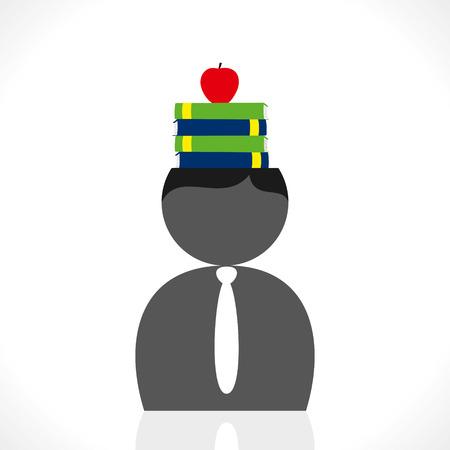 book and apple in men head vector  Vector