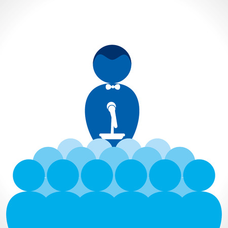leader, tutor or business speaker men concept vector Иллюстрация