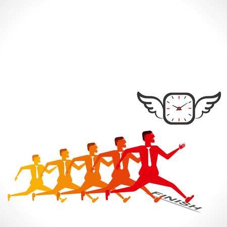competition, men compete to time concept vector Vector