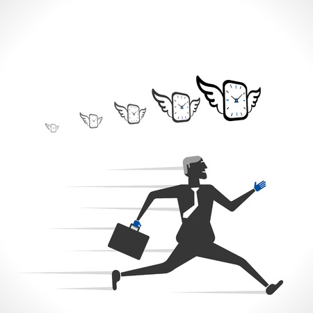 men run with time concept vector Illustration