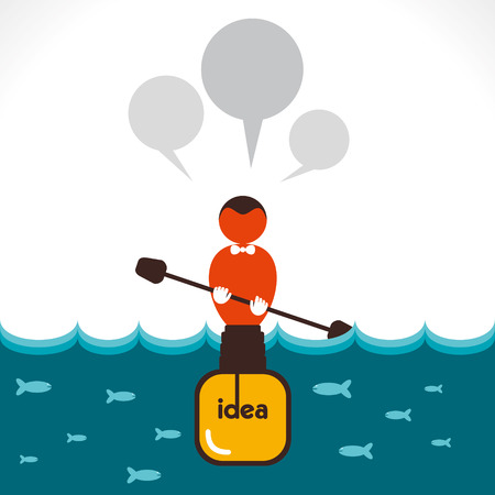 rowboat: men with big idea bulb boat with message bubble concept vector Illustration