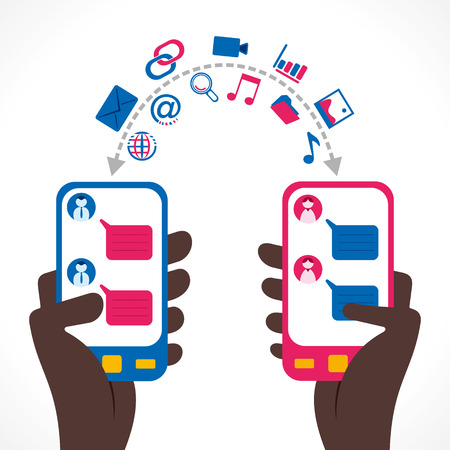 share music, video, data or chat people using mobile concept vector Illustration
