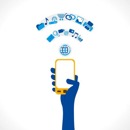 móvil en la mano y diferente icono hacen wi-fi shape símbolo vector concepto Ilustración de vector
