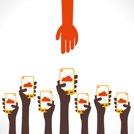 every one ready to give mobile to helping hand concept vector Illustration
