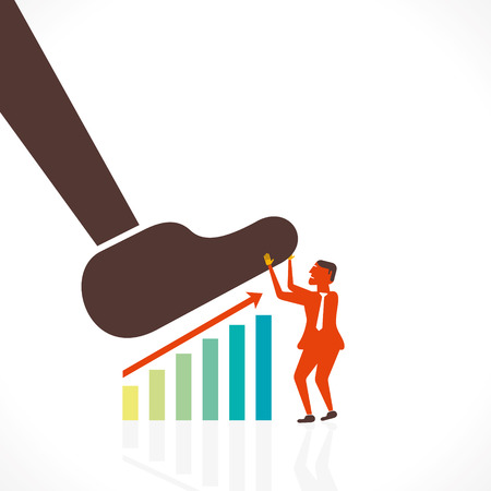 big foot: businessmen save the growth graph by big foot concept vector